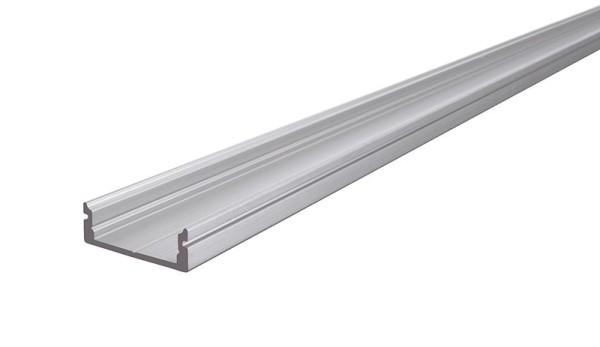 Reprofil Profil, U-Profil flach AU-01-15, Aluminium, Silber gebürstet, 2000mm