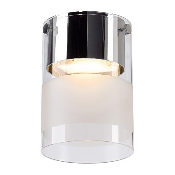 COMMO, Deckenleuchte, Energiesparleuchte GX53, rund, chrom, teilsatiniert Glas, Energiesparleuchte