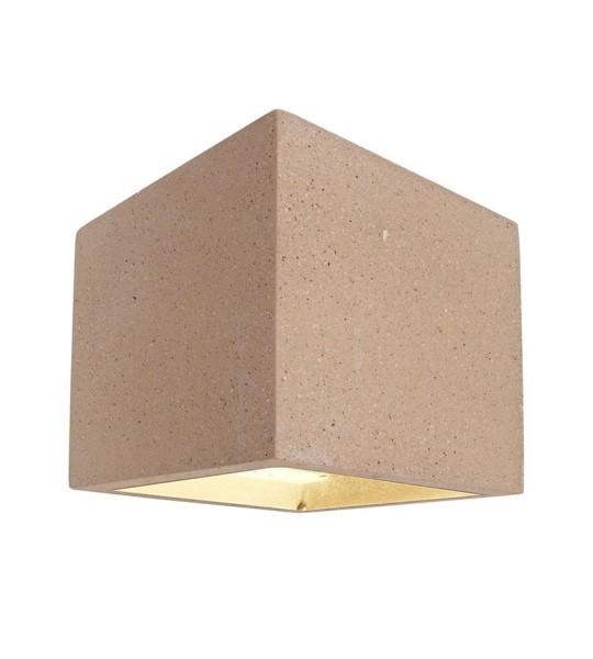 Deko-Light Wandaufbauleuchte, Cube, Beton, beige, 25W, 230V, 115x115mm