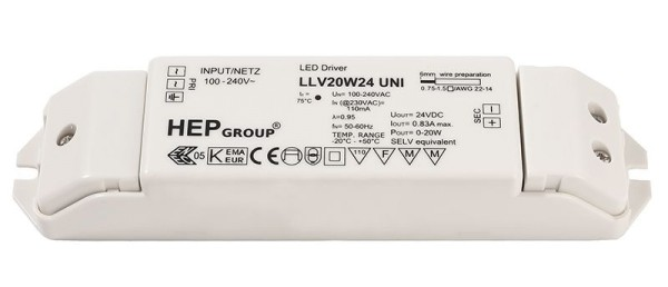 Deko-Light Netzgerät, LLV20W24, Kunststoff, Weiß, 20W, 24V, 167x38mm