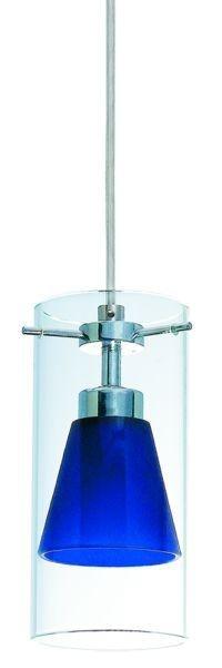 Pendelleuchte Tex, (1 x Aussenglas klar/ 1 x Innenglas blau gefrostet), 12V, G4, max 35W