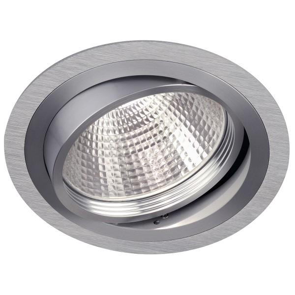 NEW TRIA G12, Einbauleuchte, rund, aluminium gebürstet, inkl. 38° Reflektor, max. 70W