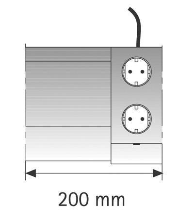 Futura Plus EE T/2ST Touchschalter/2fach-Steckdose, 200mm, Einspeisung rechts