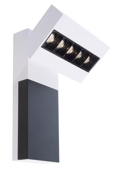 Deko-Light Wandaufbauleuchte, Ceti 5, Aluminium Druckguss, weiß matt, Warmweiß, 45°, 10W, 230V