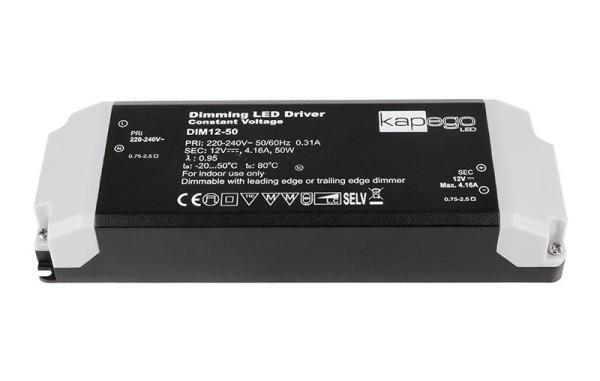 Deko-Light Netzgerät, Dimmable CV Power Supply 12V 12-50W, Kunststoff, Schwarz, 50W, 12V, 4170mA
