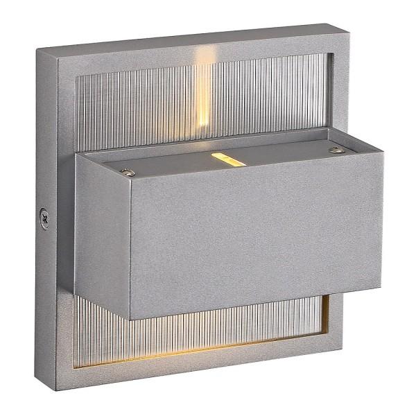 DACU UP-DOWN LED BEAM Wandleuchte, eckig, silbergrau, 2x1W, 2700K, IP44