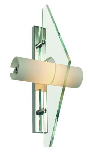 Wandleuchte Plex chrom, Glas klar und weiß, 230V, R7s 78mm, max100W