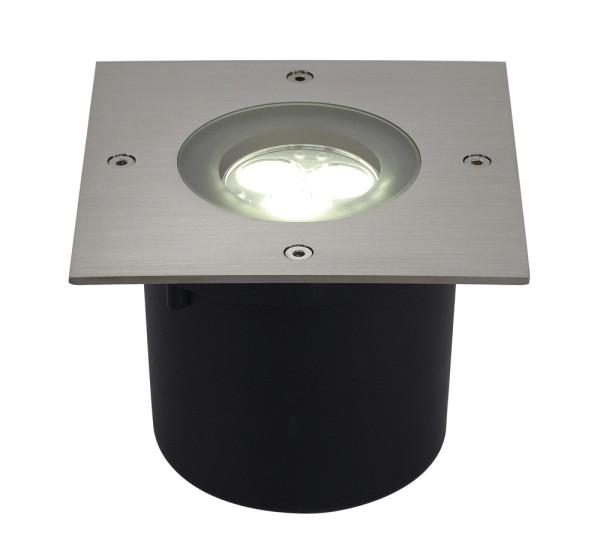 WETSY, Outdoor Bodeneinbauleuchte, LED, 5700K, IP67, eckig, edelstahl 316, Glas teilsatiniert, 3W