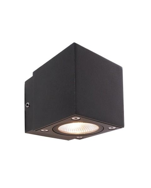 Deko-Light Wandaufbauleuchte, Cubodo II Single DG Mini, Aluminium Druckguss, dunkelgrau, Warmweiß