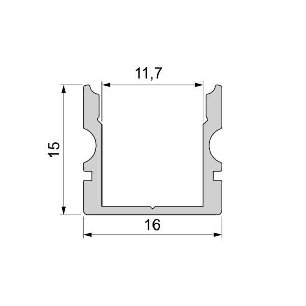 Reprofil, U-Profil hoch AU-02-10 für LED Stripes bis 11,3 mm, Silber-matt, eloxiert, 3000 mm