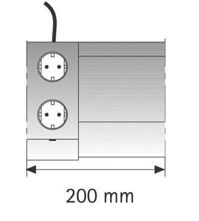 Futura Plus EE T/2ST, Touchschalter/2fach-Steckdose, 200mm, Einspeisung links,