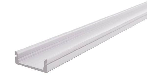 Reprofil Profil, U-Profil flach AU-01-15, Aluminium, Weiß-matt, 2000mm