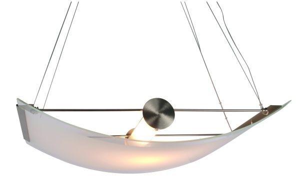 Hängeleuchte Slide, Edelstahloptik, Glas weiß satiniert, 230V, R7s 118 mm, max. 300 Watt, exkl. Leuc