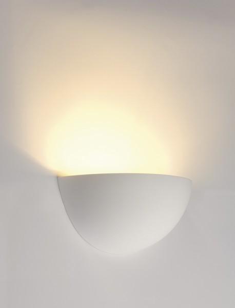 PLASTRA 101, Wandleuchte, C35, halbrund, weißer Gips, max. 40 W