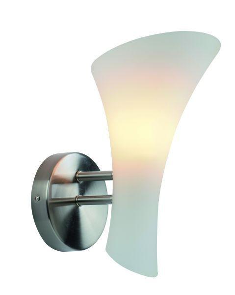 Wandleuchte Bombona, metal brush, Glas weiß, E14,230 Volt, max. 40 Watt, exkl. Leuchtmittel
