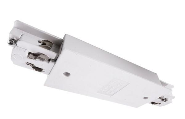 Ivela Schienensystem 3-Phasen 230V, Längsverbinder mit Einspeisemöglichkeit für Flügelschiene, Weiß