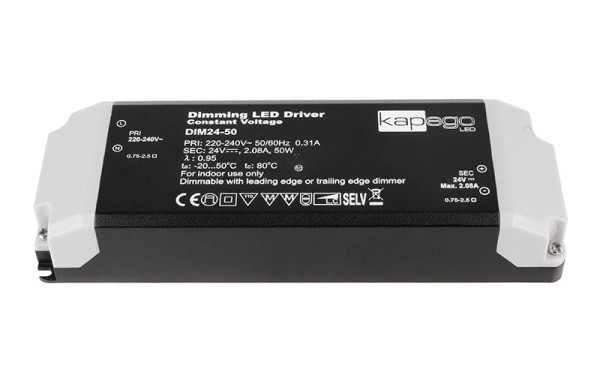 Deko-Light Netzgerät, Dimmable CV Power Supply 24V 12-50W, Kunststoff, Schwarz, 50W, 24V, 2080mA