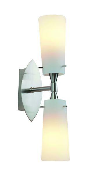 Wandleuchte Bolino, metal brush, Glas weiß, E14,230 Volt, max. 40 Watt, exkl. Leuchtmittel