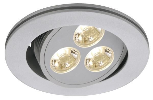 TRITON 3, Einbauleuchte, dreiflammig, LED, 3000K, rund, silbergrau, 3W, schwenkbar