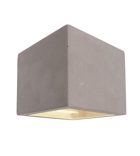 Deko-Light Wandaufbauleuchte, Cube, Beton, grau, 25W, 230V, 115x115mm