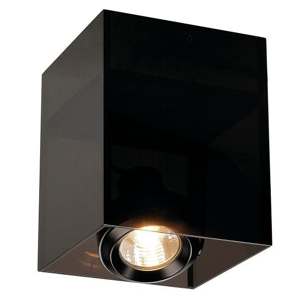 ACRYLBOX, Deckenleuchte, einflammig, QPAR51, eckig, schwarz/transluzent, max. 50W